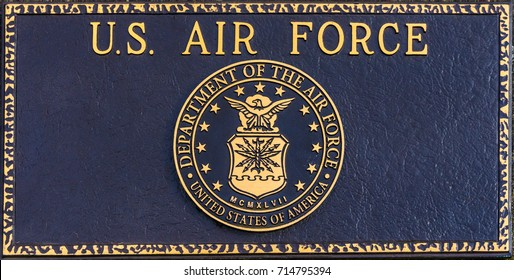 February 18, 2017, Polk County Court House, Dallas, Oregon. The commemorative plaque of the U.S. Air Force outside of the court house.