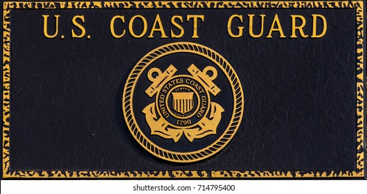 February 18, 2017, Polk County Court House, Dallas, Oregon. The commemorative plaque of the U.S. Coast Guard outside of the court house.