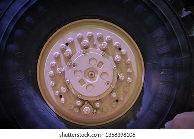 February 18, 2019 - Abu Dhabi, UAE: Detail of Michelin tyre for heavy armed trucks