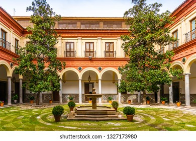 February 18, 2019: Courtyard in Granada, Andalusia, Spain