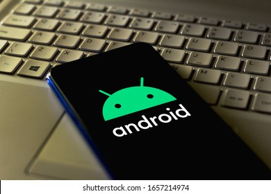 February 18, 2020, Brazil. In this photo illustration the Android logo app is seen displayed on a smartphone.