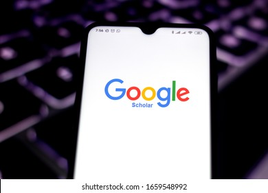 February 18, 2020, Brazil. In this photo illustration the Google Scholar logo app is seen displayed on a smartphone.