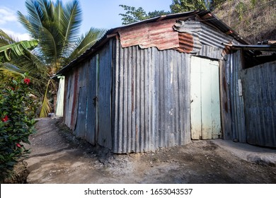 February 18, 2020 San Jose De Ocoa, Dominican Republic. dramatic image of a typical Haitian home high in the mountains of the dominican republic.