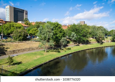 February 19, 2018.  Adelaide, South Australia, Australia.  Looking from the River Torrens towards University of Adelaide campus in North Terrace.