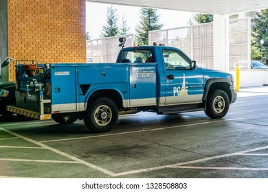 February 19, 2019 Sunnyvale / CA / USA - PG&E service vehicle waiting in a parking lot