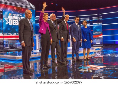 FEBRUARY 19, 2020, LAS VEGAS NEVADA, USA - Democratic Presidential Candidates - (L to R) - Mayor Mike Bloomberg. Sen. Elizabeth Warren, Sen. Bernie Sanders, VP Joe Biden, Mayor Pete Buddigieg, Sen. Am