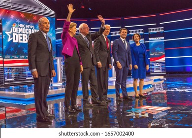 FEBRUARY 19, 2020, LAS VEGAS NEVADA, USA - Democratic Presidential Candidates - (L to R) - Mayor Mike Bloomberg. Sen. Elizabeth Warren, Sen. Bernie Sanders, VP Joe Biden, Mayor Pete Buddigieg, Sen. Am