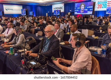 FEBRUARY 19, 2020, LAS VEGAS NEVADA, USA - national news media covers the Democratic Presidential Candidates featured at NBC's Paris Theater