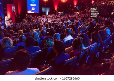 FEBRUARY 19, 2020, LAS VEGAS NEVADA, USA - audience watches Democratic Presidential Candidates debate stage hosted by NBC Television in Paris Theater, Las Vegas