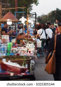 February 2, 2018: variety of shops sale for people who visit easy way, colourful traditional food street and souvenir goods market lifestyle in cute tourist destination town: NAN province of THAILAND