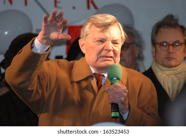 FEBRUARY 20, 2006 - BERLIN: Peer Schmidt at a protest demonstration against the closure of a theater in Berlin.