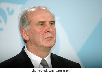 FEBRUARY 20, 2008 - BERLIN: the Prime Minister of Liechtenstein, Otmar Hasler at a press conference after a meeting with the German Chancellor in the Chanclery in Berlin.