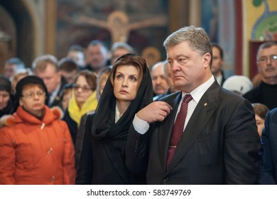 February 20, 2017. Kyiv, Ukraine. President of Ukraine Petro Poroshenko and  First Lady of Ukraine Maryna Poroshenko during the dirge for the victims of euromaidan.
