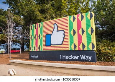 February 20, 2018 Menlo Park / CA / USA - Facebook corporate headquarters campus sign in Silicon Valley supporting black history month, San Francisco bay area