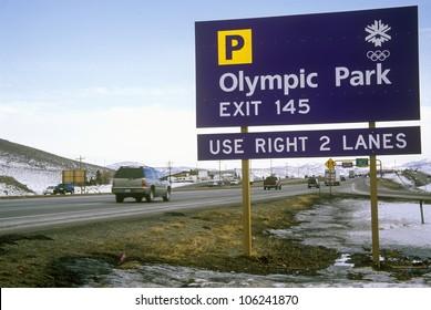 FEBRUARY 2005 - Olympic traffic sign during 2002 Winter Olympics, Salt Lake City, UT
