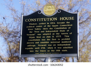 FEBRUARY 2005 - Plaque commemorating Constitution House in Windsor, VT