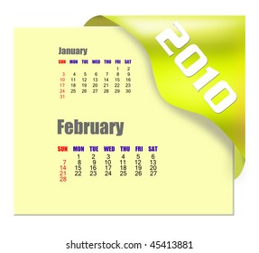 February of 2010 Calendar