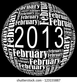 February 2013 info-text graphics arrangement on black background