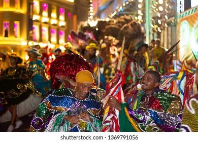 February 2013. Popular Culture. Presentation of maracatu de baque solto: manifestation of the popular culture of Pernambuco. Popular dancers after a  performance at Marco Zero, Recife,PE, Brazil.