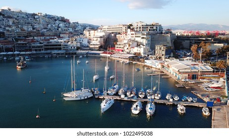 February 2015: Aerial bird's eye view of famous port of Mikrolimano, Piraeus, Attica, Greece