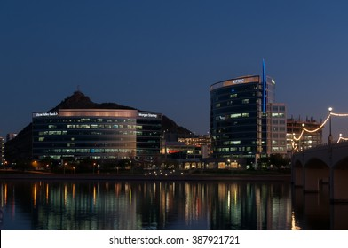 February 2015 Tempe Arizona- Corporate buildings at sunset in Tempe Arizona near ASU