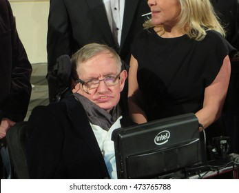 February 2015, theoretical physicist Professor Stephen Hawking arrives at the 2015 BAFTA film awards ceremony in London.