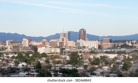 February 2016 Tuscon Arizona The downtown area of Tuscon Arizona at sunset