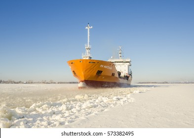"""February, 2017 - Arkhangelsk. Tanker """"Magellan"""" is among the ice along the bed of the Northern Dvina River. Russia, Arkhangelsk region, Arkhangelsk"""