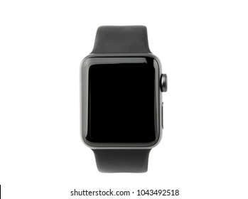 February 2018. Apple Watch Series 3 on a white background. A new watch from an APPLE company close-up isolated on a white background.