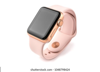 "February 2018. Apple Watch Series 3 colors ""pink sand"". A new watch from an APPLE company close-up isolated on a white background."