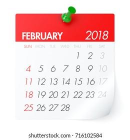 February 2018 - Calendar. Isolated on White Background. 3D Illustration