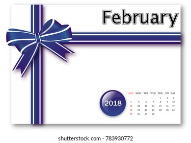 February 2018 - Calendar series with gift ribbon design