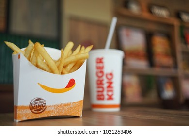 February ,2018 : French fried and beverage of Burger King on a table at BurgerKing restaurant Bangkok,Thailand