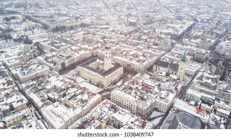 February, 2018 - Lviv, Ukraine. Top View of Lviv City Centre from above in winter