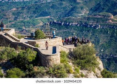 FEBRUARY 2018: Montserrat monastery on mountain in Barcelona, Catalonia.