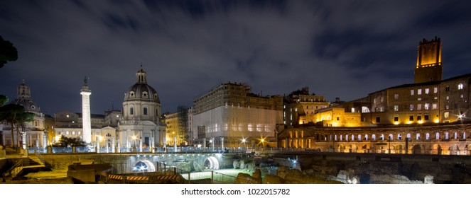 February 2018: night exposure of ancient Roman ruins in central Rome, Italy