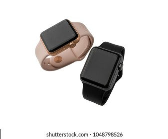"February 2018. Two smart watches Apple Watch Series 3. New watches from the company APPLE colors ""Pink Sand"" and ""Gray Cosmos"", isolated on white background."