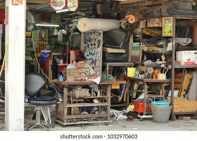 February ,2018 : Unidentified man Sewing leather at shop , Bangkok,Thailand