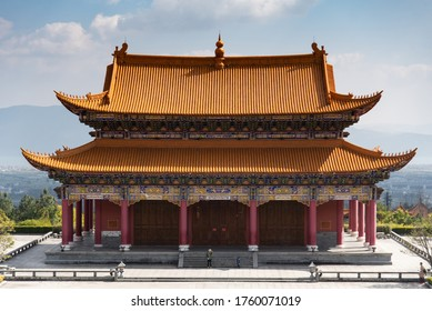 February 2019. Dali, China. The Three Pagodas are located in the Chongsheng temple. Buildings that make up the temple.