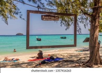 February 2019. Ko Lipe Ko Lipe Tarutao National Marine Park Thailand. A view of the beach on Ko lipe in Thailand.