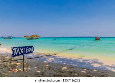 February 2019. Ko Lipe Tarutao National Marine Park Thailand. A view of taxi boats in Ko Lipe Tarutao National Marine Park Thailand