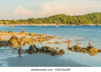 February 2019. Ko Lipe Ko Lipe Tarutao National Marine Park Thailand. A view of exposed coral on the beach on Ko lipe in Thailand.
