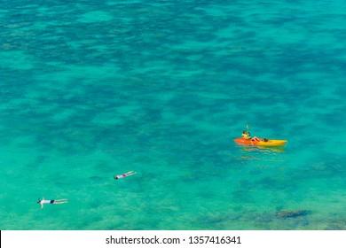 February 2019. Ko Lipe Tarutao National Marine Park Thailand. A view of snorklers in Ko Lipe Tarutao National Marine Park Thailand