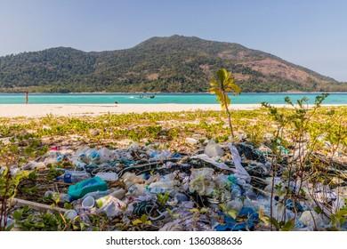 February 2019. Ko Lipe Thailand. A view of trash on the beach in Ko Lipe in Ko tarutao national park in Thailand