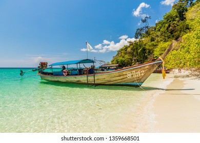 February 2019. Ko Rawi Thailand. A view of long tail boats on Ko Rawi in Tarutao national marine park in Thailand