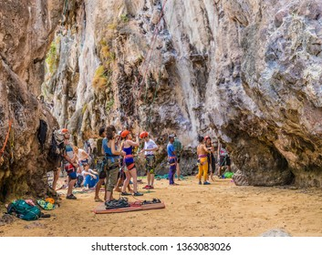 February 2019. Railay Beach Krabi Thailand. A view of a rock climber at Railay beach in Krabi Thailand