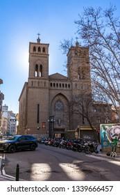 FEBRUARY 2019: Sagrado corazon de Jesus Church in Zaragoza, Spain.