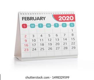 February 2020 Desktop Calendar Isolated on White