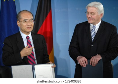 FEBRUARY 21, 2007 - BERLIN: Koichiro Matsuura (Secretary General of the UNESCO), Foreign Minister Frank Walter Steinmeier - press conference after a meeting in the Foreign Ministry in Berlin.