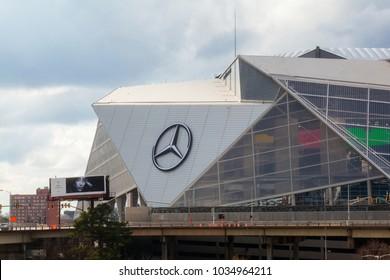 February 21, 2018. Mercedes-Benz Stadium in Atlanta. The Mercedes-Benz Stadium is a multi-purpose retractable roof stadium located in Atlanta, Georgia, USA.
